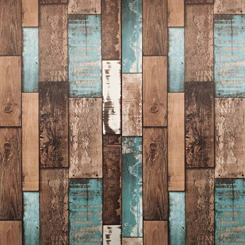 Reclaimed Wood Peel and Stick Wallpaper - Wood Wallpaper – Removable Contact Paper, Prepasted Wall paper or Adhesive Shelf Paper - Plank Vintage Barnwood Distressed Wallpaper (17.71' Wide x 393' Long)