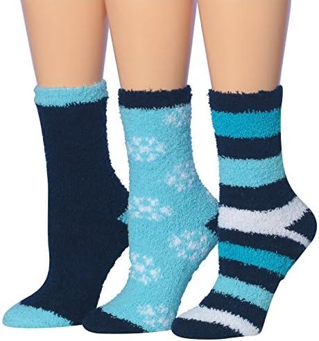 Tipi Toe Women s 3 Pairs Winter Snoflakes Anti Skid Soft Fuzzy Crew Winter Socks sock size 9 product image