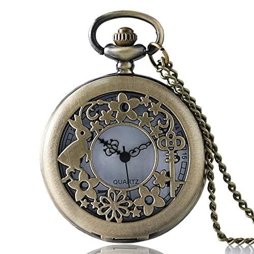 WHSW Reloj de Bolsillo Reloj clásico con Colgante Vintage, Llavero de Conejo Antiguo Flor Cuarzo Hueco Hermosa Enfermera Reloj de Bolsillo Collar Colgante Cadena Niñas Mujeres