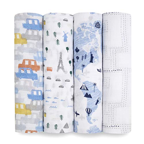 aden + anais Essentials Swaddle Blanket, Muslin Blankets for Girls & Boys, Baby Receiving Swaddles, Newborn Gifts, Infant Shower Items, Toddler Gift, Wearable Swaddling Set, 4 Pack, Little Big World