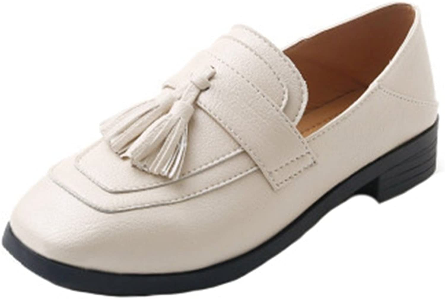 GIY Women's Classic Penny Loafers Tassel Flat Moccasin Square Toe Slip-On Casual Dress Loafer Oxford shoes