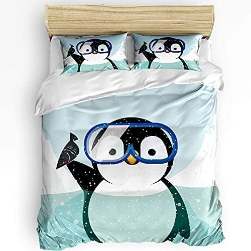 HARXISE Lindos Juegos de Fundas de edredón de Animales, Ultra Suaves y Transpirables para el Dormitorio, Funda de Almohada de 3 Piezas y Funda de edredón, pingüino con Gafas de Buceo