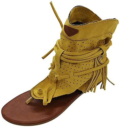 QAZW Sandalias de borla para mujer, de verano, estilo medieval, retro, para mujer, de verano, informales, planas, de playa, antideslizantes, con correa en T, color amarillo