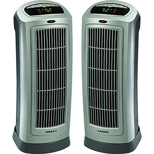 Lasko 2-Pack Ceramic Tower Heater with Digital Display & Remote Control - 755320