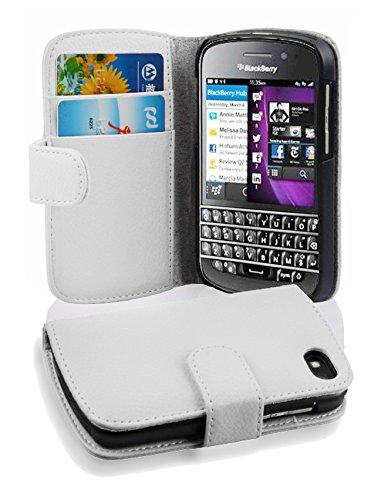 Cadorabo Hülle für BlackBerry Q10 in Magnesium WEIß – Handyhülle aus Strukturiertem Kunstleder mit Standfunktion & Kartenfach – Hülle Cover Schutzhülle Etui Tasche Book Klapp Style