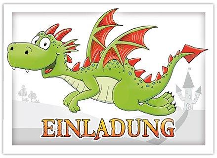 10 Einladungskarten mit niedlichem Drachen für Kinder / Einladung zum Drachengeburtstag für Jungs