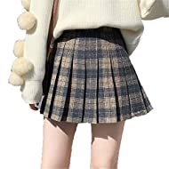 [Material]: This pleated skirt is made of high-quality materials and is fashionable and comfortable to wear. [All-match plaid skirt]: Perfect match with basic shirts, collar shirts, sweaters, baseball uniforms, thigh high socks, etc. [Occasion]: This...