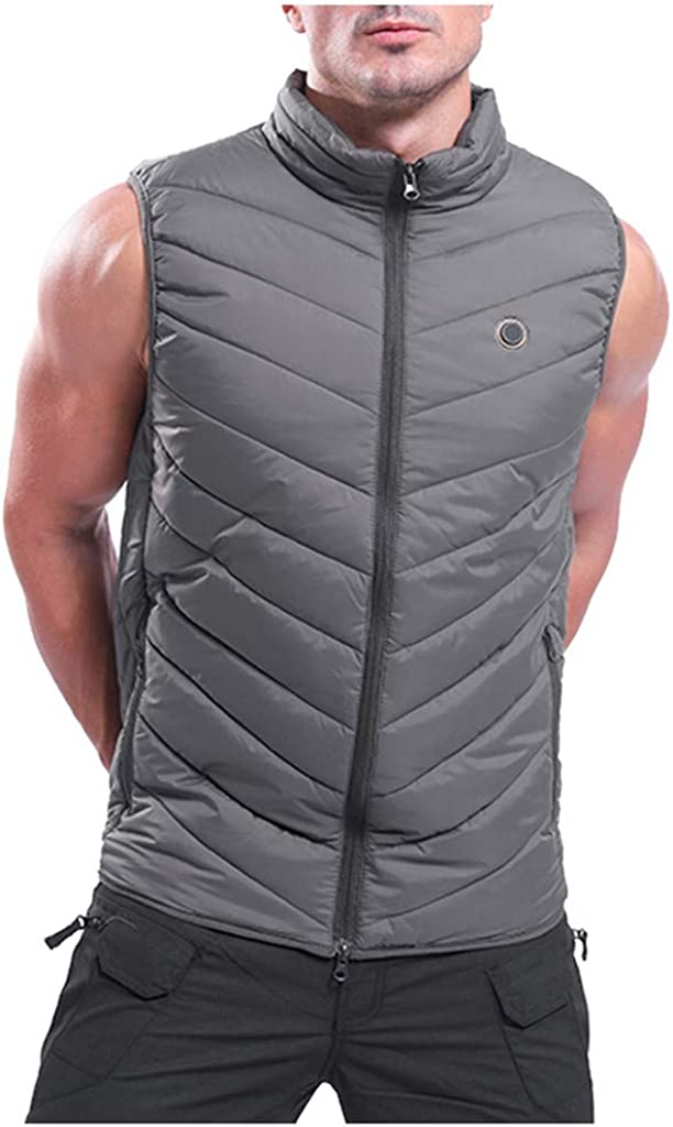 NotingBuss Men's Washable USB Electric Heated Vest Lightweight Charging Heated Waistcoat for Fishing Camping Hiking