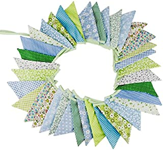 10M/32 Feet 36 PCS Lovely Triangle Bunting Flag Banner Pennant Garland Fabric Flags Double Sided Vintage Cloth Shabby Chic Decoration for Wedding, Birthday Party, Bedrooms (36pcs Green)