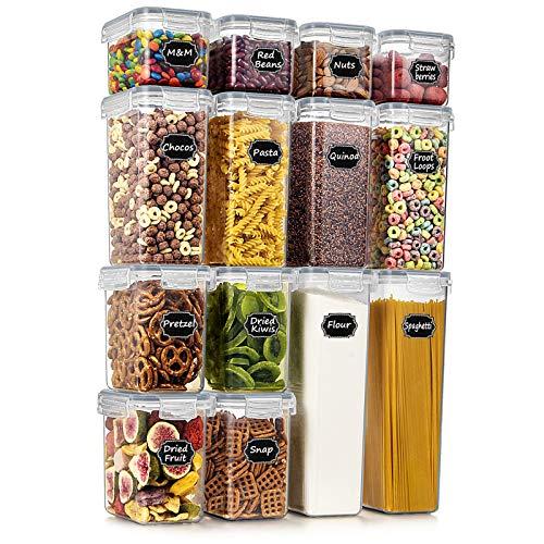 Wildone Frischhaltedosen, luftdicht, BPA-frei, für Müsli und trockene Lebensmittel, 14 Stück, für Zucker, Mehl, Snacks, Backzubehör, grauer Deckel mit 20 Kreidetafel-Etiketten und 1 Marker