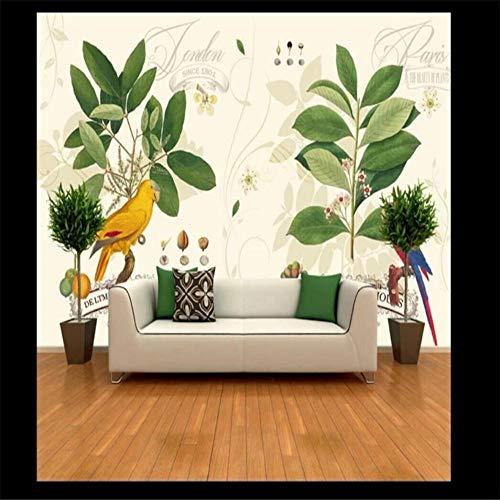 Muurschildering Muur Muralshuge Handbeschilderde Planten Bloemen Kleur Papegaaien Idyllische Groene Achtergrond Muur Gespecialiseerd in De productie van Behang Muren About 350*245cm 3 stripes