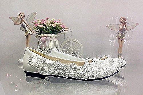 JINGXINSTORE Marfil Cordón Crystal schuhe de boda talón plano nupcial Tamaño de bomba 5.5-12,marfil,US 10.5