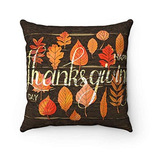 N\A Feliz Día de Acción de Gracias Funda de Almohada Patrón de Madera Funda Cuadrada Decorativa Almohada Agradecido Hojas de otoño Funda de cojín Regalo
