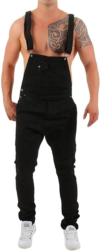 Jumpsuit for Men Forthery Mens Denim Bib Overalls Fashion Slim Fit Ripped Destroyed Jeans Pants Jumpsuit with Pockets