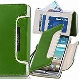 numia LG L90 Hülle, Handyhülle Handy Schutzhülle [Book-Style Handytasche mit Standfunktion & Kartenfach] Pu Leder Tasche für LG L90 Case Cover [Grün-Weiss]