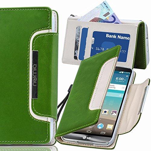 numia LG G4C Hülle, Handyhülle Handy Schutzhülle [Book-Style Handytasche mit Standfunktion und Kartenfach] Pu Leder Tasche für LG G4C Case Cover [Grün-Weiss]