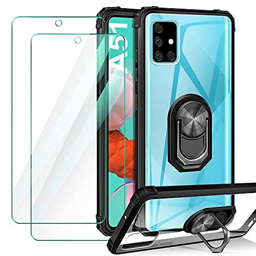 Pnakqil Funda Compatible con Xiaomi Redmi Note 10 4G/10S 6.43',2 Piezas Protector de Pantalla,Transparente Airbag Anti-Choque Protector Carcasa con 360 Grados Imán Soporte Silicona Bumper Case-Negro