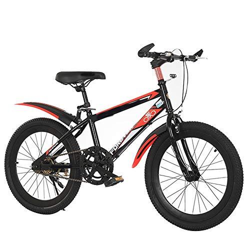 YUMEIGE Kinder Fietsen Sport Bike 18 20 Inch, Kinderen Freestyle Bike Hoog Koolstofstaal Frame,Kinderfiets 5-15 Jaar Oude Kinderen Gift Zwart, Blauw, Rood 18in Zwart