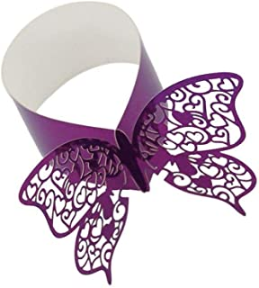 Hemore 50pcs Chic Butterfly Napkin Rings Replacement Hollow Cut Paper Napkin Buckles for Wedding Banquet Table