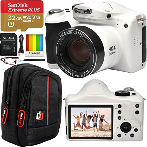 """Polaroid 18MP 40x Optical Zoom Digital Camera with HD Video 3"""" LCD Screen and Built in Wi-Fi IE4038W Bundle with Deco Gear Camera Bag Case + SanDisk 32GB Extreme Plus microSD Memory Card & SD Adapter"""