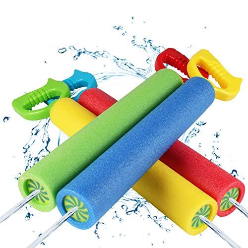 Juguetes de Pistola de Agua, Juguetes de Pistola de Agua de Espuma, 4 Paquetes de Tiradores de Pistola de Agua de Verano, Juguetes de Piscina de Pistola de Espuma Ligera