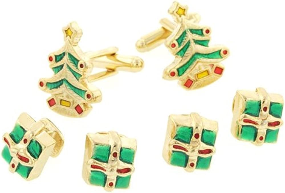 JJ Weston Christmas Tree and Gifts Tuxedo Cufflinks and Shirt Studs. Made in the USA.