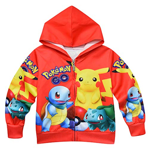 YUANY Kinder Jungen Pikachu-Jacken-3D Digital Printed Cosplay Zipper Cardigan,Red-110cm