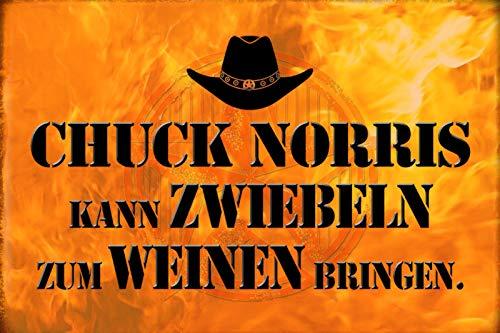 FS spreuk Chuck Norris uien wijnen metalen bord bord gebogen metalen teken 20 x 30 cm