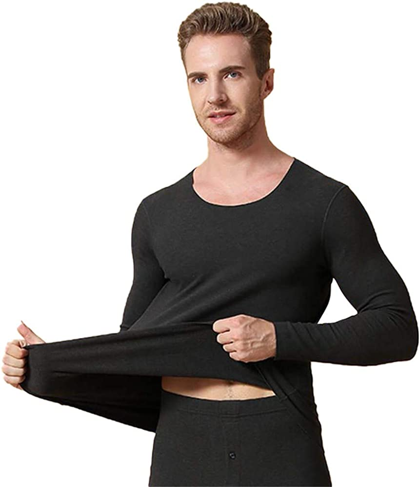 Dizadec Men Thermal Compression Athletic Sports Ultra Soft Fleece Lined Long Sleeve Cold Weather Winter Warm Base Layer Top