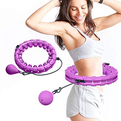 Sangool Aro de hula hoop para adultos, ajustable, ancho, con puntos de masaje, para niños y adultos, principiantes, con aro de gimnasia para adelgazar, fitness, masaje (morado)