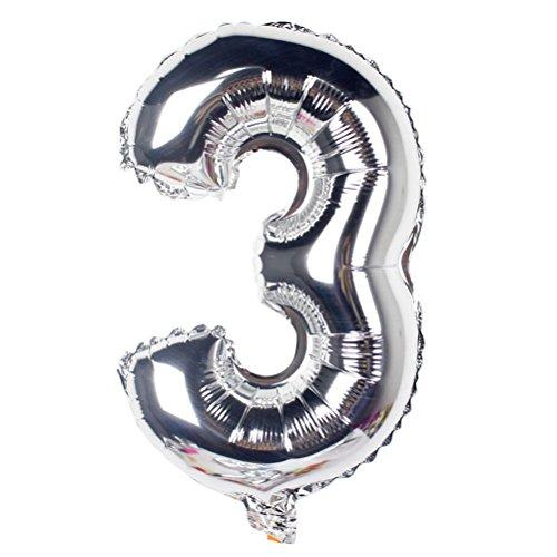 NUOLUX 101,6cm Número globo para fiestas Festival cumpleaños Decoraciones Suministros para fiestas Photo Props, 3, 1
