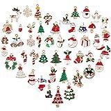 48 pezzi ciondoli assortiti placcati oro smaltati charms lega per gioielli fai da te, collane, bracciali,orecchini, regali per natale, albero di natale misto pupazzo di neve fiocco di neve renna babbo