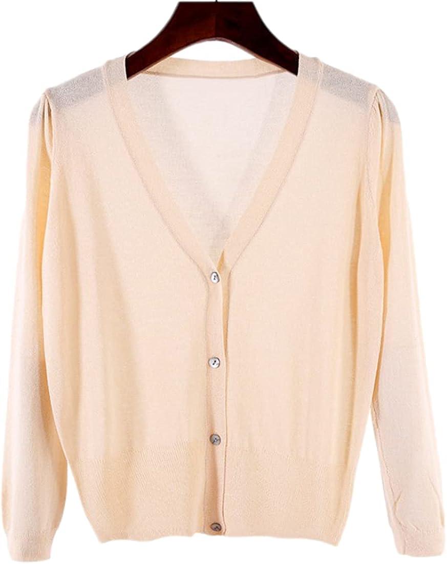 SeekMe Women's Basic V Neck Button Down Soft Knit Shrug Long Sleeve Knitwear Cardigan
