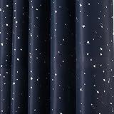 MOOUK 1 cortina opaca con diseño de estrellas y cielo nocturno para dormitorio,...