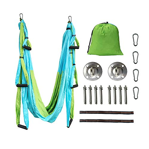 Review FLWLL Aerial Yoga Swing Set-Yoga Hammock with Mounting Kit, Home Gym Hanging Yoga Trapeze Set...