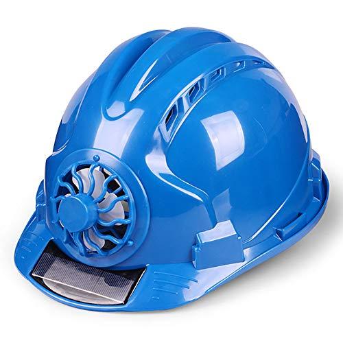 Solar Power Sicherheitshelm, Outdoor Verstellbarer Sicherheitshelm mit Ventilator, Sicherheits-Fahrradhelm, Bump Cap, Bausicherheitshelm, Industrie-Hard-Hut, blau, Free Size