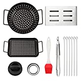GOOD HELPER Grill Accessories, Grill Basket Set, Grill Set, Non-Stick Grill Wok and Grill Grid, Smoker Box, Barbecue Tongs, Hamburger Press, Skewers and Silicone Brush for BBQ, Camping