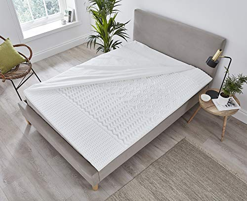 Hilden 1874 – 5 Zone Memory Foam 5cm Deep Mattress Topper, Removable & Washable Cover (Single (90x190x5cm))