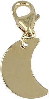 """Gioiello Italiano - Charm""""Luna"""" in oro giallo 14kt con moschettone, per bracciali e collane"""