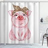 DYCBNESS Duschvorhang,Schwein Nutztier Lustiges süßes Schweinchen mit Leopardenbandana,Vorhang Waschbar Langhaltig Hochwertig Bad Vorhang Polyester Stoff Wasserdichtes Design,mit Haken 180x180cm