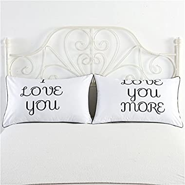 Adasmile King Queen I Love You Romantic Wedding Valentine's Gift Couple Pillowcases Couple Pillow Cases Set of 2 (l Love you more, 19 X29  (48X74CM))