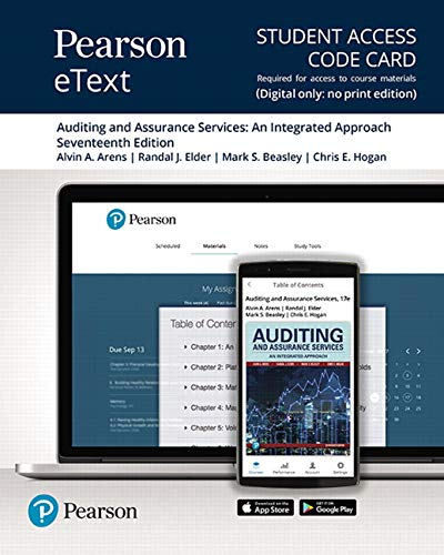 Pearson eText for Auditing and Assurance Services -- Access Card