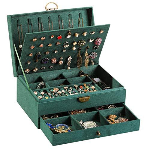 NFRADFM Caja de joyería,Caja de joyería de cuero PU,Caja de joyería de gran capacidad,Pendientes collar caja de almacenamiento de joyería,Caja de joyería portátil