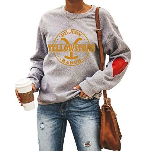 Daiwen Felpa Girocollo da Donna Felpa con Cappuccio Stampa Yellowstone Abbigliamento Girocollo Pullover Manica Lunga Autunno Inverno