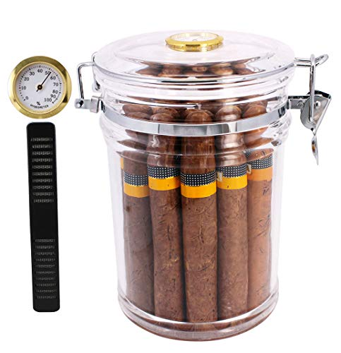 TOIKA Elegant Clear Acrylic Cigar Humidor Case,Cigar Jar Container with Hygrometer,Cigar Storage Case Box, Stores About 18 Cigars