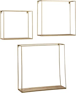 Ashley Furniture Signature Design - Efharis Wall Shelf - Set of Three - Contemporary Chic - Natural/Gold Finish