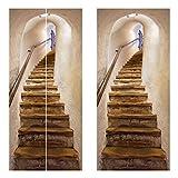 sunronal Escaleras 3D Arte Etiqueta de la Puerta para el Dormitorio Sala de Estar Baño, Calcomanía de Pared Autoadhesivo Impermeable Puerta extraíble Murales Papel Tapiz Decoración del hogar