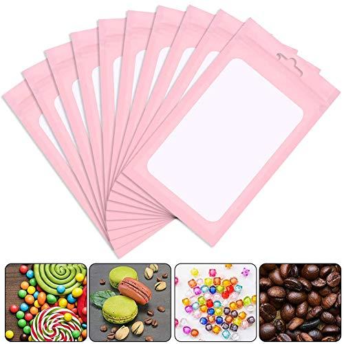200 stuks hersluitbare Mylar Ziplock voedselopbergzakken met helder venster koffiebonen verpakking zakje voor voedsel zelfafdichtende opbergbenodigdheden (roze, 2,8 x 4 inch)