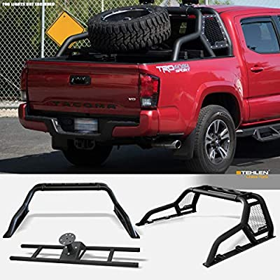 Armordillo 642167818809 For Mid-Size Trucks CR1 Chase Rack Truck Bed Roll Bar with Tire Carrier - Matte Black