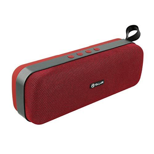 TELLUR Schleife - Altavoz Bluetooth 10W TWS, manos libres, radio FM, USB, microSD, entrada auxiliar de 3,5 mm, BT 5,0 (rojo)